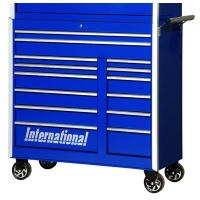 "International PRB-4214BU Tool Box Pro Series 14 Drawer Roller Cabinet: 44-7/32"" x 18-27/32"" x 43-1/4"" - Blue"