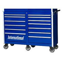"International PRB-5413BU Tool Box Pro Series 13 Drawer Roller Cabinet: 56-9/32"" x 18-27/32"" x 41-1/16"" - Blue"