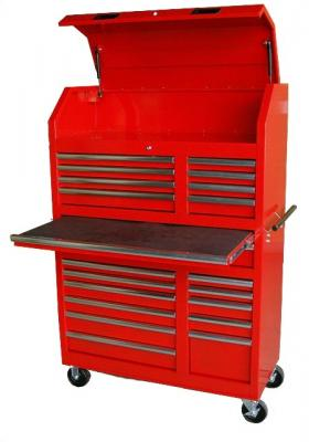 "Tool Box 20 Drawer Tool Wall Tower w/Canopy: 42-1/2"" X 18-3/4"" X 61-5/16"" - Red"