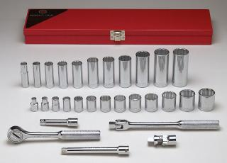 "3/8"" Dr., 29 Pc. 12 Pt. Std. & Deep Socket Set"